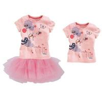 2015 girls dress suit t shirts with short sleeves + lace bitter fleabane bitter fleabane skirt girl clothing free shippingATZ143