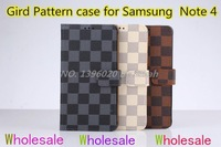 Bulk wholesale 100 pcs/lot Gird Pattern Wallet Leather case Stand flip PU Skin Cover pin check Case for Samsung Galaxy Note 4