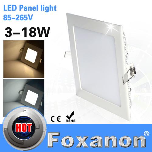 Led Square Panel Light 85-265V 220V 110V 3W 6W 9W 12W 15W 18W Ceiling lamps Ultra Slim downlight Bulb painel spot cob Lighting(China (Mainland))