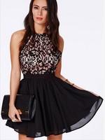 2015 women dresses cross stitching lace halter dress Sleeveless Dress