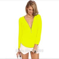 2015 Fashion Women V Neck Zipper Chiffon Blusa Blouses Casual Shirts Tops Blusas De Renda Femininas Long Sleeve HTNCS002