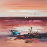 Free shipping Oil painting Chinese Style Boats Home Hotel improvement Wall Decor Original Modern Art  Good Gifts