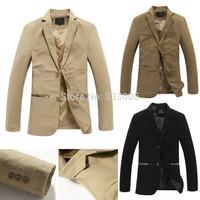 New 2015 High Quality Cotton Plaid Patchwork Designs Cheap Mens Blazers Slim Fit Men Suit Jacket Coat Khaki/Brown/Black M-5XL