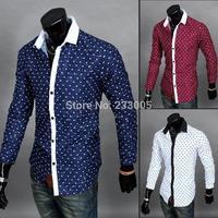 5 Colors! 2015 New Stylish Flower Designer Mens Shirts Slim Fit Long Sleeve Casual Social Shirt Men Floral Shirt Blue/Wine/White