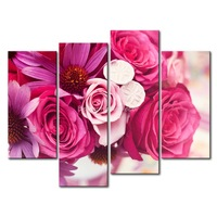3 Piece Pink Wall Art Painting Colorful  Bouquet Picture Print On Canvas Flower 4 5 The Picture Home Decor Oil Prints