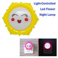 New Lovely Light Controlled Children Room Flower Night Lamp, Decorative Led Power Saving Flower Night Light For Kids Room.