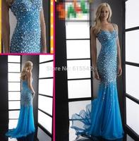 Luxury Mermaid Trumpet Prom Dresses Sweetheart Spaghetti strap Beading Crystal Motifs Adorn Floor Length Chiffon Pageant Dresses