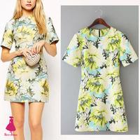 Retro Sweet Slim Pastoral Lotus Flower Print Short Sleeve Shirt Blouse Dress 2015 Dresses