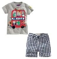 Summer Boy Clothing Sets 2015 Brand Cartoon Car Printed Short Sleeve Boys T-shirt+Plaid Leisure Pants Fashion Baby Boy SetC20