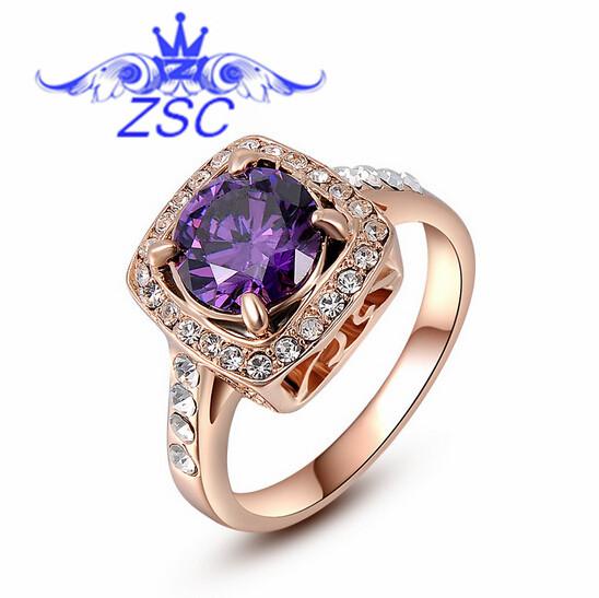G8 hot Quality 18K Gold Plated Emerald Finger Rings Elegant Jewelry CZ Imitation diamonds Austrian Crystal