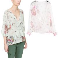 Europe and ZAR* new female summer dresses casual v-neck swallow print chiffon shirt C-22