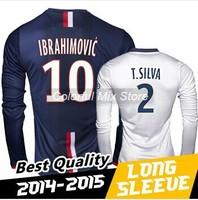 Free Shipping 2015 IBRAHIMOVIC T SILVA Long Sleeve Jerseys Best Thai Quality 14 15 Soccer Long Sleeve Jerseys Football Jerseys