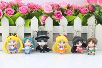 DHL 50sets Anime Sailor Moon Q Verison Mars Jupiter Venus Mercury Keychain Pendant Action Figures Toys Dolls 6pcs/set