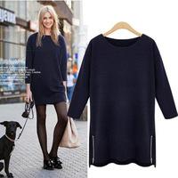 European American Big Size Women's Clothing Thin O-Neck Long Sleeve Zipper Decorative Casual T-Shirt  XL-XXXXL Free Shipping