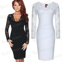 Wholesale New 2015 Patchwork Vestido de Festa Sexy Lace Party Dresses Women Knee-length Elegant Bodycon Club Dress Black White