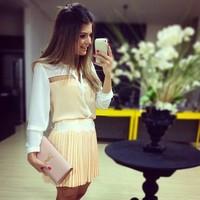 White and yellow patchwork V-neck blouses women fashion blusas