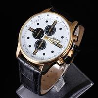 WEITE Watches Men Military Quartz Sports Watch, Luxury Brand calendar Leather Strap Watch High quality Wristwatch