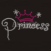 25PCS/LOT Custom Rhinestone Hot Fix Motifs Princess Design