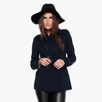 European Style Women Woollen Coat With Belt Double Breasted Turn-Down Collar Side Pocket Long Sleeve Slim Waist Tops D656