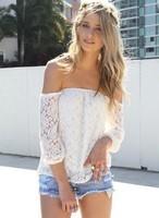 2015 European and American lace hollow yarn blouse blusa shorts women blouses three Quarter Chiffon dress
