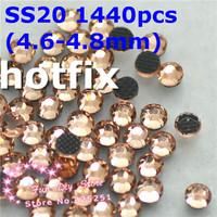 SS20 light peach champagne rhinestones SS20(4.6--4.8mm) 1440pcs/lot flat back free shipping
