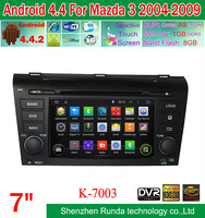 Pure Android 4.4 Car DVD GPS For Mazda OLD MAZDA 3  2004-2009 with Built in WIFI 3G DVR USB Bluetooth Capacitive Screen