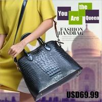 Women handbag shoulder messenger shell bag 2014 Crocodile fashion handbag large capacity women tote handbag genuine leather bag
