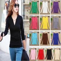 New Arrive 2015 Fashion Brand Korean Women's Autumn Winter Tops Cotton Long Sleeve velvet Femme T-shirt Women Shirts