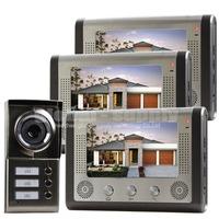 Waterproof New 7 inch Video Door Phone Doorbell Intercom Door Lock System Kit 1 Camera 3 Monitors IR Night Vision