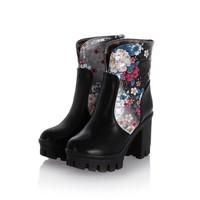2015 new arrive fashion Thick high-heeled platform flower pattern boots beautiful short plush round toe boots