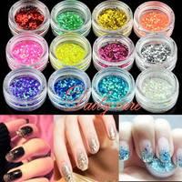 New Arrival  Fashion 3d Nail Art 12 Colors Hexagon Glitter Nail Art Decoration