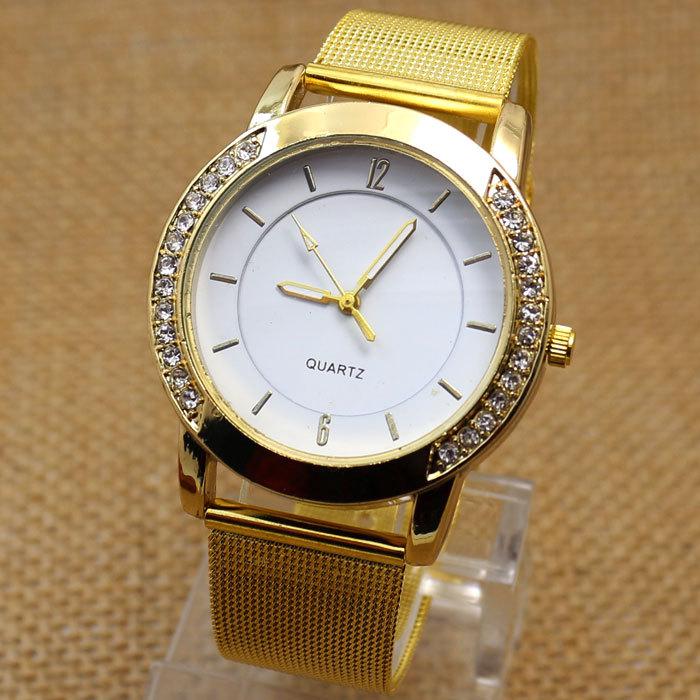 Mulheres vestido relógios de quartzo moda strass ouro malha mulher relógio banda bracelete de diamantes relógio novo relógio W041304(China (Mainland))