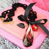 New anti allergic flocking chain necklace Rhine stone drop bow love fashion sweater chain