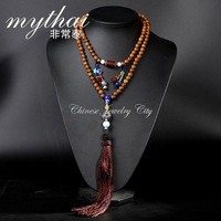 Very limited new Thai hand-woven long tassels multilayer sweater chain retro folk style necklace