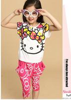 [ Humor Bear ]  New 2015 Baby Girls Clothing Set Summer Cartoon Suits For Girls Children's Shorts 2Pcs Tshirts+Pants