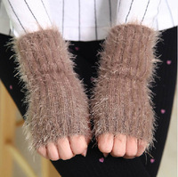 2015 Fashion Ladies Mohair Yarns New  Half Finger Glove Warm Thick Wool Knit Gloves Mittens Hot Sale Free Shipping #M00259