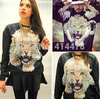 2015 New Harajuku 3D Leopard Head  HipHop Hoodies Women Sweatshirts Sweaters Personality Loose Pullovers Free Shipping Hoodies
