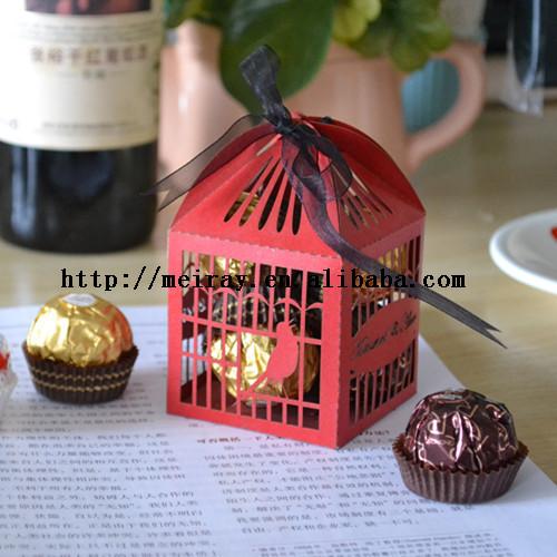 130 pçs/lote 2015 corte a laser gaiola de pássaro favores para decorações do casamento red birdcage caixa favor do casamento(China (Mainland))