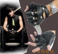 Punk Style Rivet Men's Black Gloves Fingerless Hip Hop Dance Performances And A Half Show Luo Leather Gloves Mittens #M00262