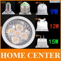 6PCS  E27 E14 MR16 GU10 GU5.3 15W 12 W 9W  Dimmable 5*3W LED Sport light led bulb  warm cold white 80W DC12V AC 110V 220V 240V