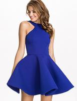 2015 Spring Summer Fashion Dresses Backless Mini Sexy Dress Sleeveless Casual Slim Women Dress Black BLue ball gown girl dress