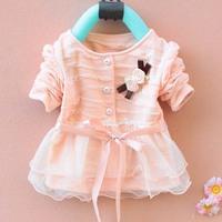 Free shipping 2014 High quality girl dress Girls long-sleeved chiffon dress children autumn dress Korean baby chiffon dress