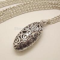 NQ023 Retro Antique Hollow Egg Pendant Long Chain Vintage Necklace Jewelry bijouterie for Women Girls