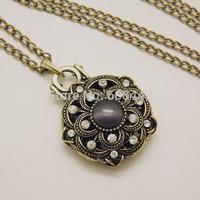 NQ025 Antique Gold Flower  Pendant Long Chain Vintage Necklace Jewelry bijouterie for Women Girls