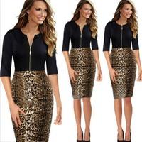 2015 Women's  leopard splicing sleeve round neck Slim pencil  dress 8290 # free shipping