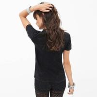 European Style Women Fashion T-shirt  Letter Guns N' roses Pattern Printed v-neck Short Sleeve Fashion CottonTops Six Size D427