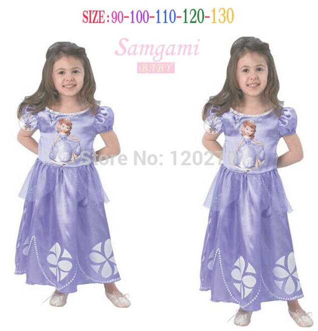 Free Shipping Summer Baby Girls Sophia Snow White Princess Flower Dress Children's One-Piece Dress Toddler Kids Dress Ball Gown(China (Mainland))