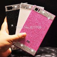 Top luxury Ultra-thin original acrylic back cover glittering diamond cover case for xiaomi mi3 xiaomi mi4 free shipping