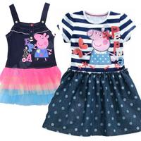 New 2015 Girl Dress Kids Denim Cute cartoon pink pig Dresses Girls Overalls Children Casual Dress for 2-7 years girl