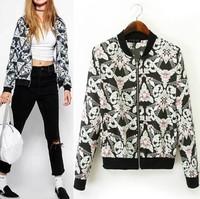 European stations Ladies European style gem stretch zipper jacket jacket printed casual shirt